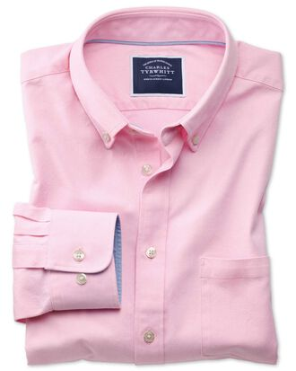 Slim fit button-down washed Oxford plain light pink shirt