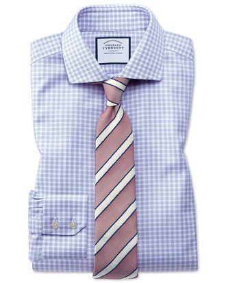 Chemise bleu roi en oxford de coton stretch slim fit à col cutaway sans repassage