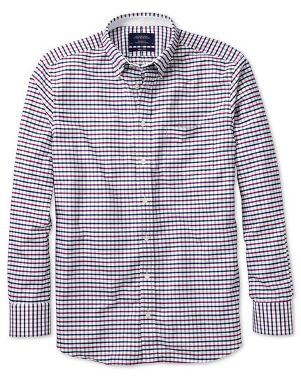 Slim Fit Oxfordhemd in MarineBlau und BeerenRot mit Tattersall-Muster