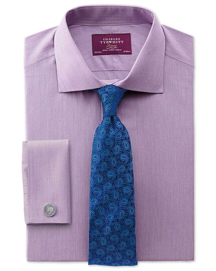 Slim fit semi-spread collar luxury poplin lilac shirt