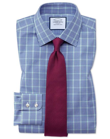 Slim fit Prince of Wales blue and green shirt