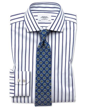 Extra slim fit cutaway non-iron Bengal wide stripe white and blue shirt