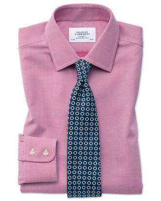 Bügelfreies Classic Fit Hemd in Magenta mit gewebten Quadraten