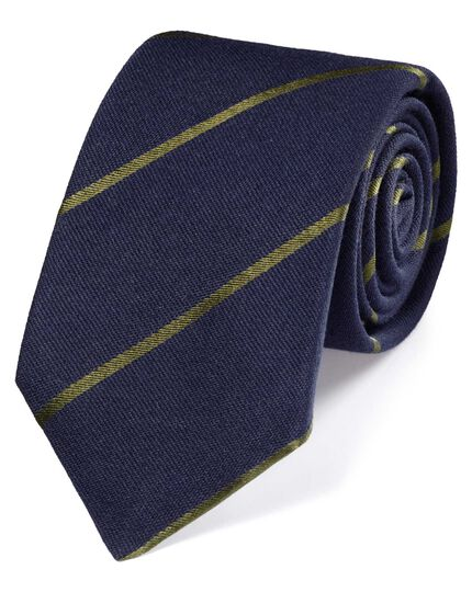 Navy and green wool mix stripe luxury tie