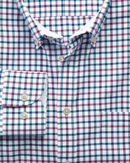 Extra slim fit navy and berry check washed Oxford shirt
