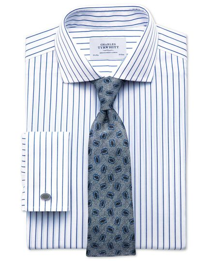 Extra slim fit cutaway collar non-iron stripe white and navy shirt