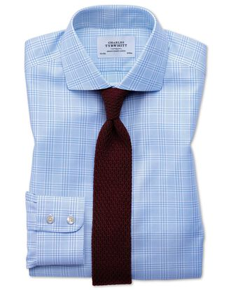 Extra slim fit spread collar non-iron Prince of Wales sky blue shirt