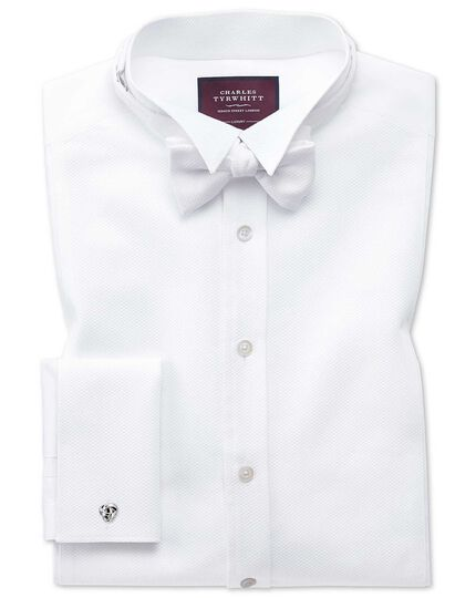 Slim fit wing collar luxury marcella bib front white dinner shirt
