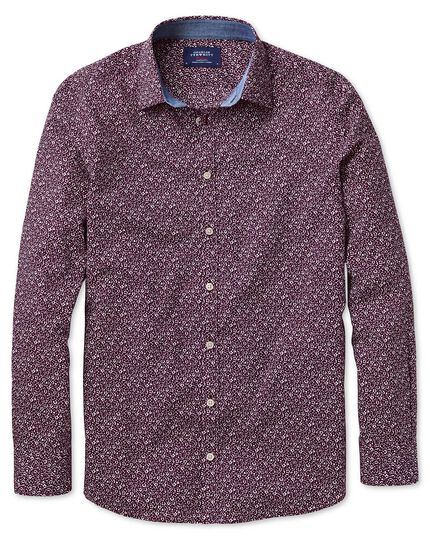 Extra slim fit purple floral print shirt