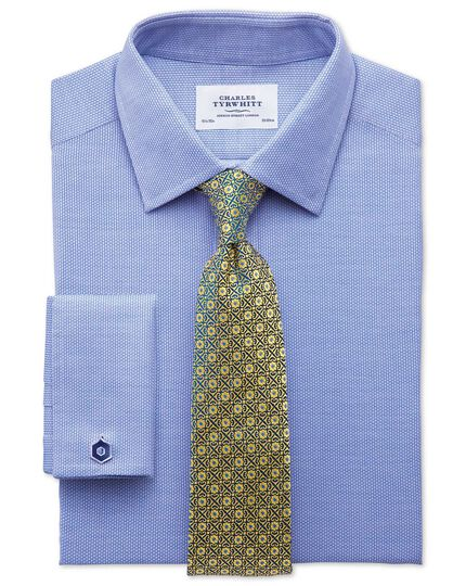 Slim fit Egyptian cotton diamond texture mid blue shirt
