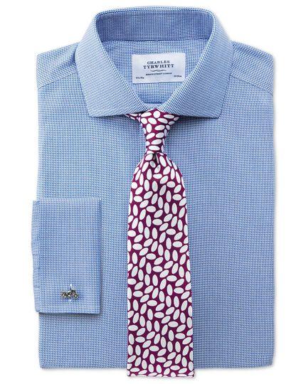 Extra slim fit cutaway collar non-iron triangle textured royal blue shirt