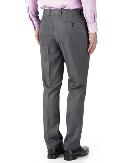 Silver slim fit twill business suit pants