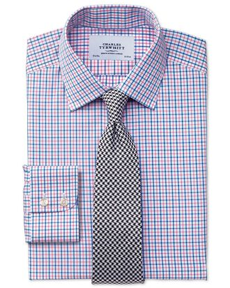 Slim fit non-iron windowpane check blue and red shirt