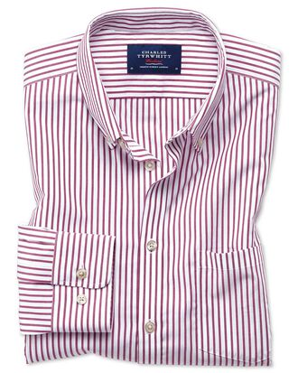 Classic fit button-down non-iron poplin berry stripe shirt