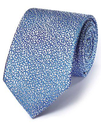 Light blue silk English luxury floral leaf tie