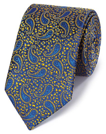 Royal and gold silk paisley English luxury tie