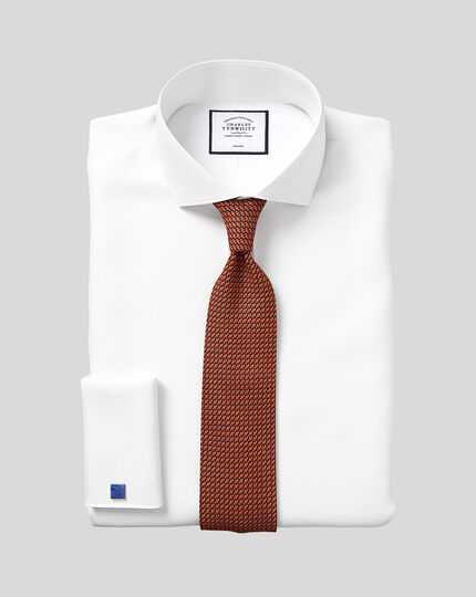 Extra slim fit spread collar non-iron poplin white shirt
