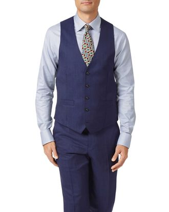 Gilet de costume business bleu indigo coupe ajustable avec motif milleraies