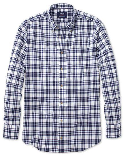 Slim fit button-down poplin navy blue check shirt