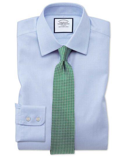 Chemise bleu ciel en tissage échelle coupe droite sans repassage