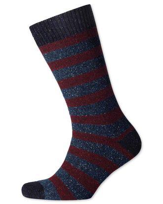 Chaussettes épaisses bordeaux et bleu marine à rayures