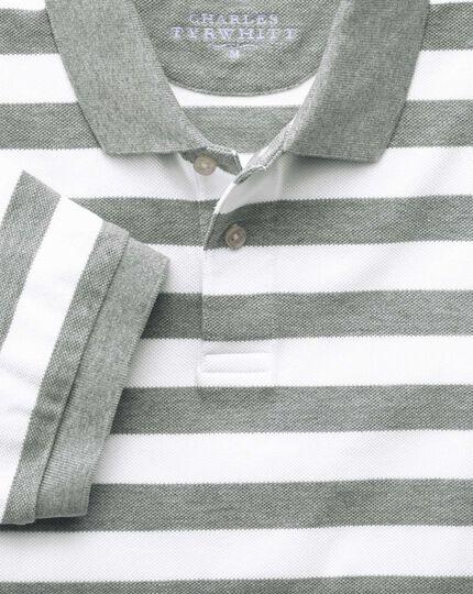 Grey and white stripe pique polo