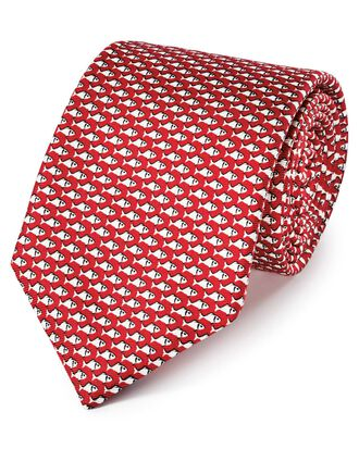 Red and white silk classic printed animal tie