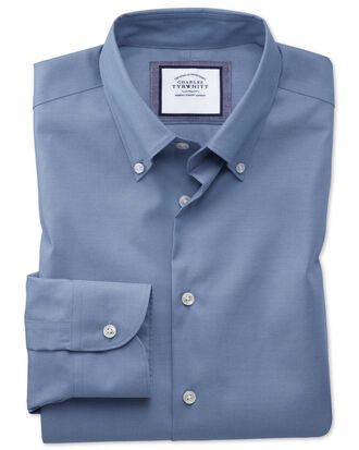 Chemise business casual bleue sans repassage extra slim fit avec col boutonné