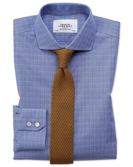 Chemise bleue Prince de Galles sans repassage extra slim fit avec col cutaway