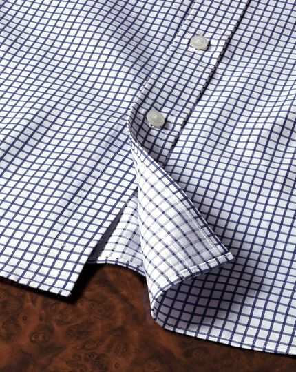 Classic fit twill grid check navy shirt
