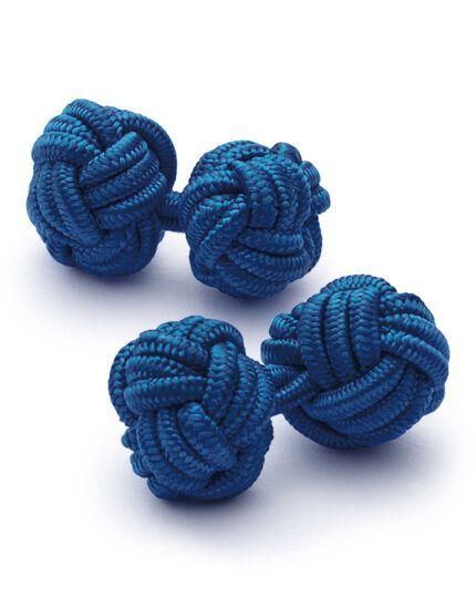 Boutons de manchette bleu roi avec nœuds