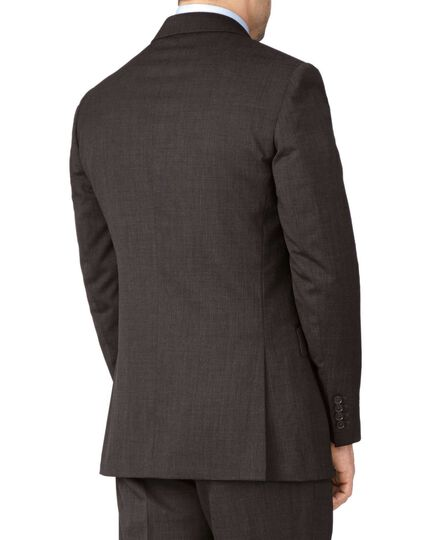 Brown slim fit end-on-end business suit jacket