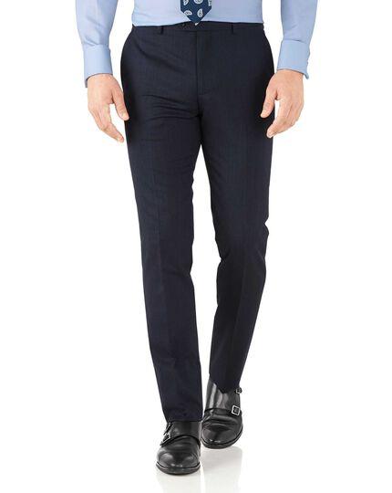 Slim Fit Business Anzug Hose aus Hairline in marinBlau