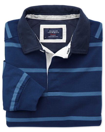 Blue and sky blue stripe rugby shirt