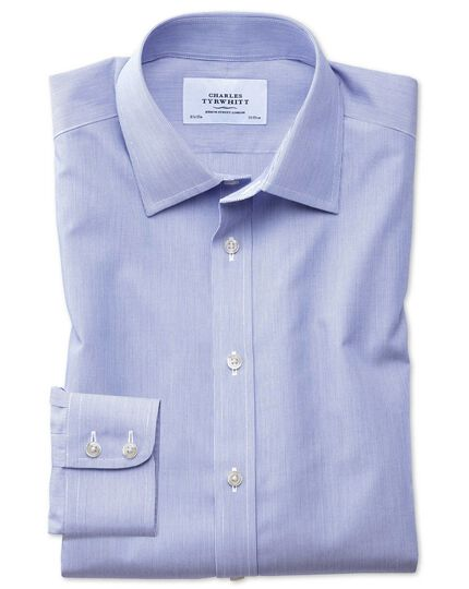 Extra slim fit non-iron hairline stripe royal blue shirt