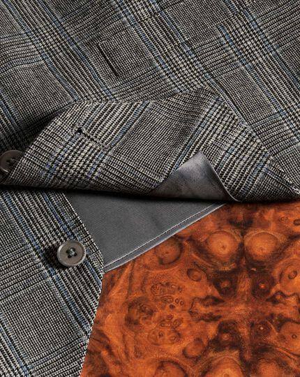 Gilet de costume business Prince de Galles argent coupe ajustable en flanelle