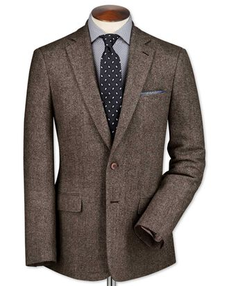Slim fit light brown lambswool hopsack jacket
