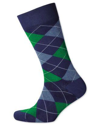 Navy and green argyle socks