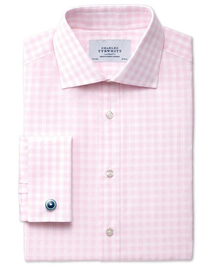 Slim fit semi-cutaway collar textured gingham pink shirt