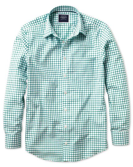 Classic fit non-iron Oxford white and green grid check shirt