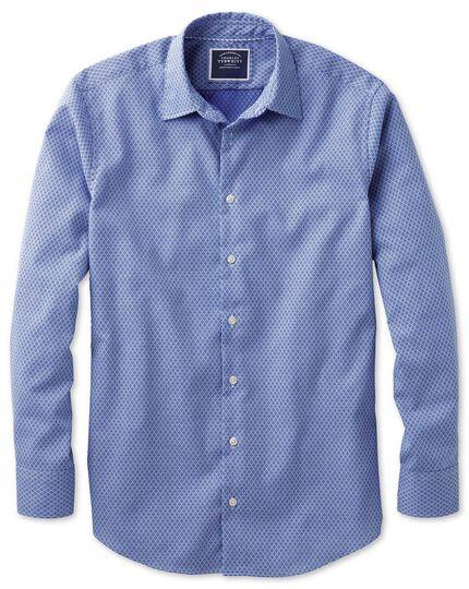 Slim fit washed royal blue gingham textured shirt