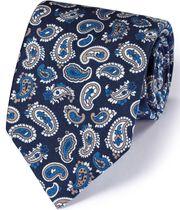 Luxuriöse englische Seidenkrawatte in Marineblau und Weiß mit Paisleymuster