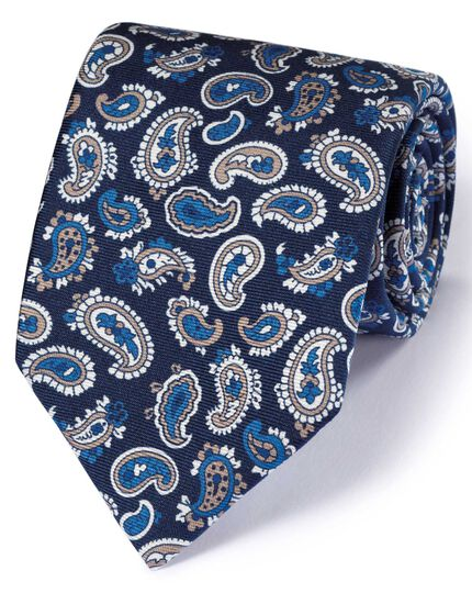 Navy and white silk English luxury paisley tie