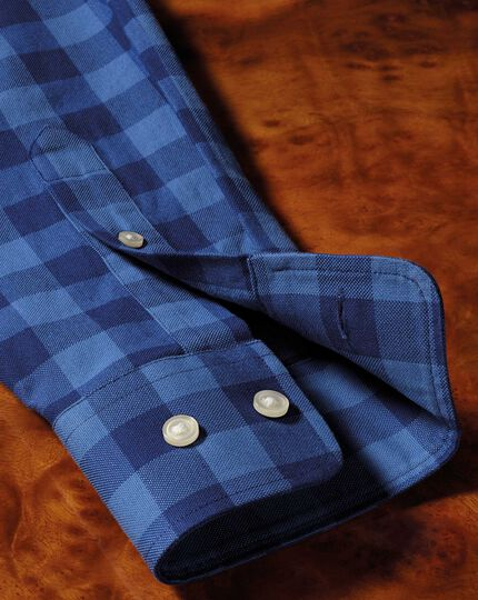 Slim fit button-down washed Oxford blue check shirt