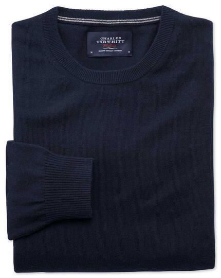 Navy cotton cashmere crew neck sweater