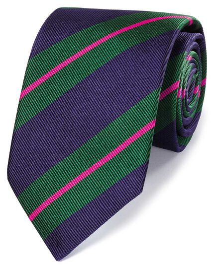 Navy and green silk super reppe stripe English luxury tie