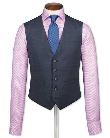 Airforce blue end-on-end business suit waistcoat