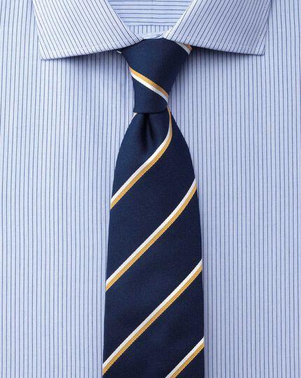 Slim fit semi-cutaway collar stretch stripe blue shirt