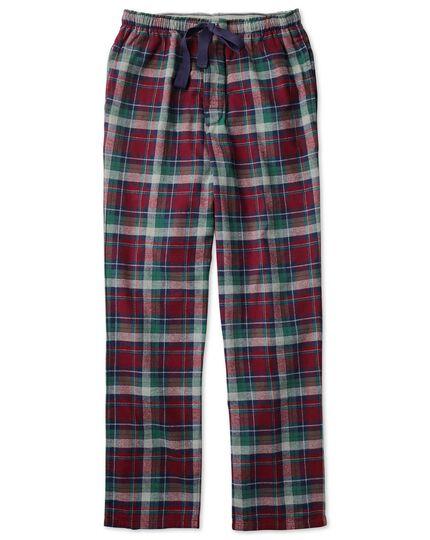 Burgundy check cotton pyjama trousers