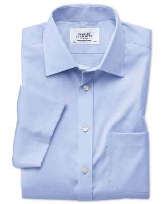 Slim fit non-iron pinpoint short sleeve sky blue shirt